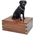 Urn shown with black lab dog figure only; no plaque or engraving