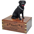 Wood engraving shown on front of Black Lab figurine wood urn