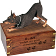 Wood engraving shown on front of Doberman Pinscher Red Dog Figurine Urn