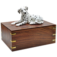 Urn shown with Dalmatian dog figure only; no plaque or engraving