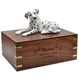 Wood engraving shown on front of Dalmatian Dog Figurine Wood Urn- Laying